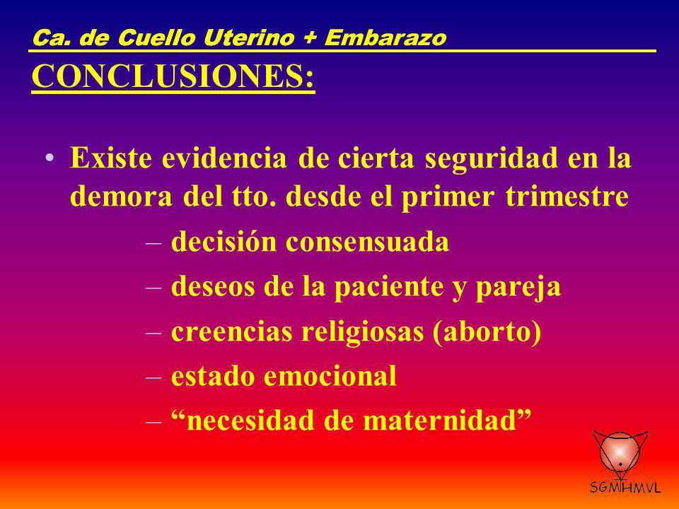 Ca. de Cuello UterinoCa. de Cuello Uterino + Embarazo CONCLUSIONES: Existe evidencia de cierta seguridad en la demora del tto. desde el primer trimest