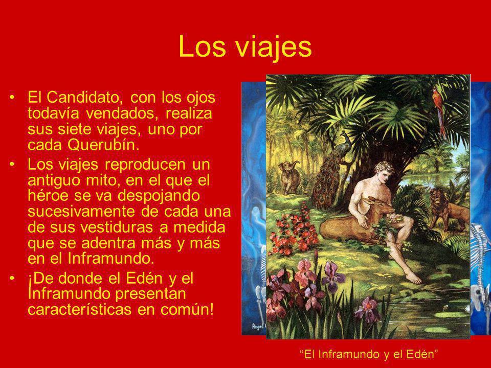 Los viajes El Candidato, con los ojos todavía vendados, realiza sus siete viajes, uno por cada Querubín. Los viajes reproducen un antiguo mito, en el