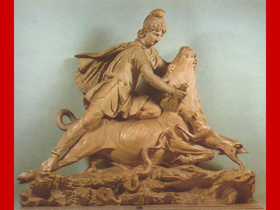 XIX. Mithra El Maestro señala entonces el Cuadro representando la inmolación del toro por parte de Mithra. Y dice: «Ve, representada en este Cuadro, l