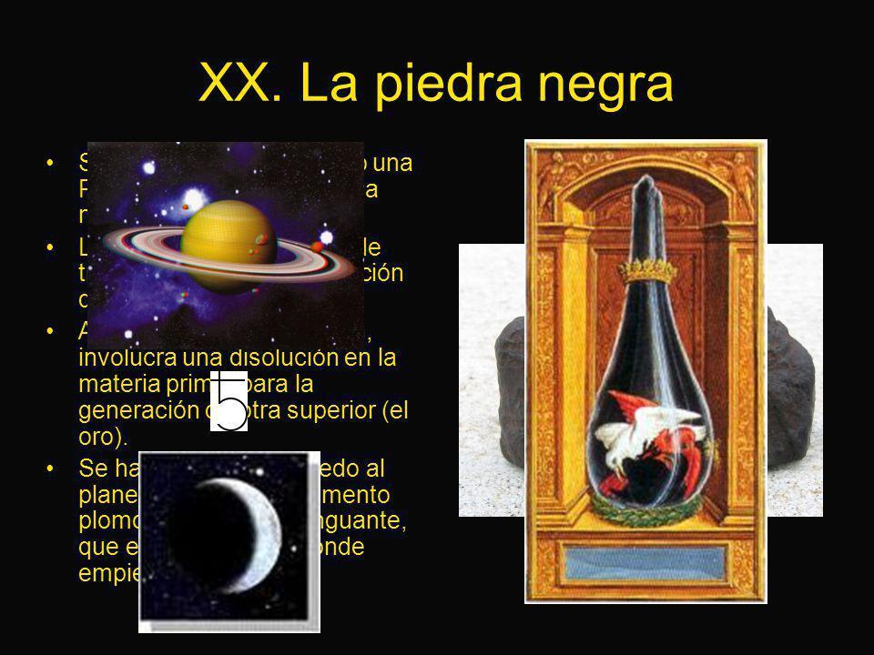 XX. La piedra negra Se le entrega al Candidato una Piedra Negra, símbolo de la nigredo. La nigredo es la primera de tres fases en la transmutación de