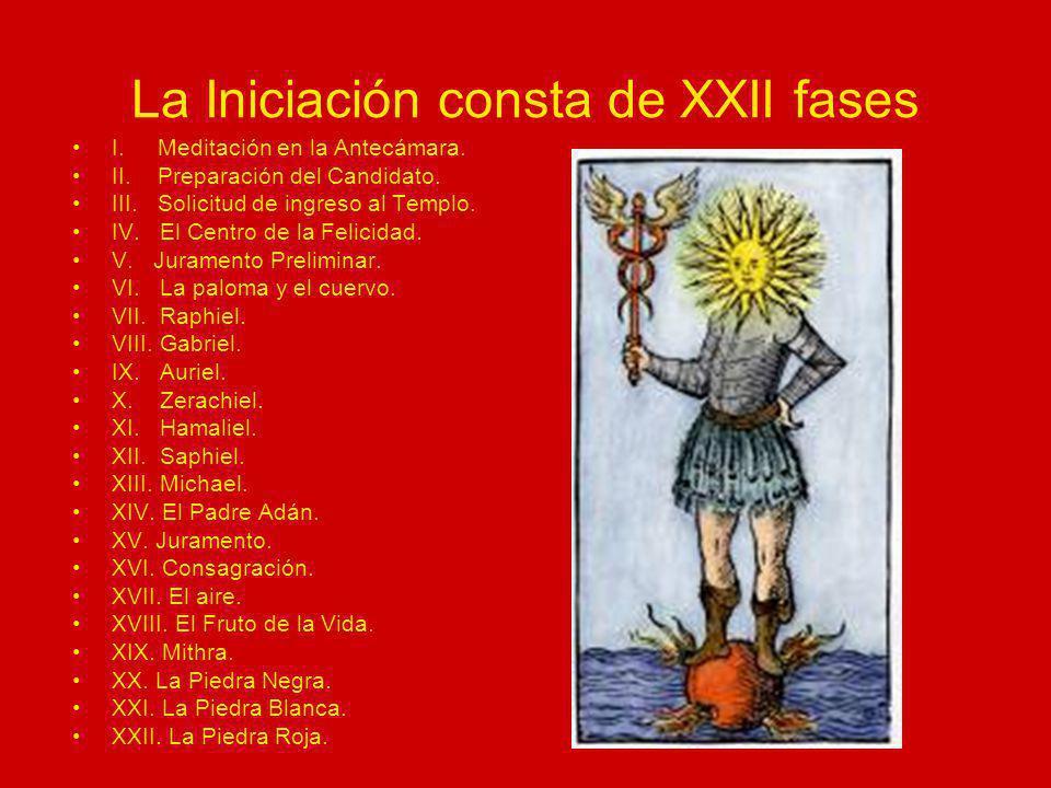La Iniciación consta de XXII fases I. Meditación en la Antecámara. II. Preparación del Candidato. III. Solicitud de ingreso al Templo. IV. El Centro d