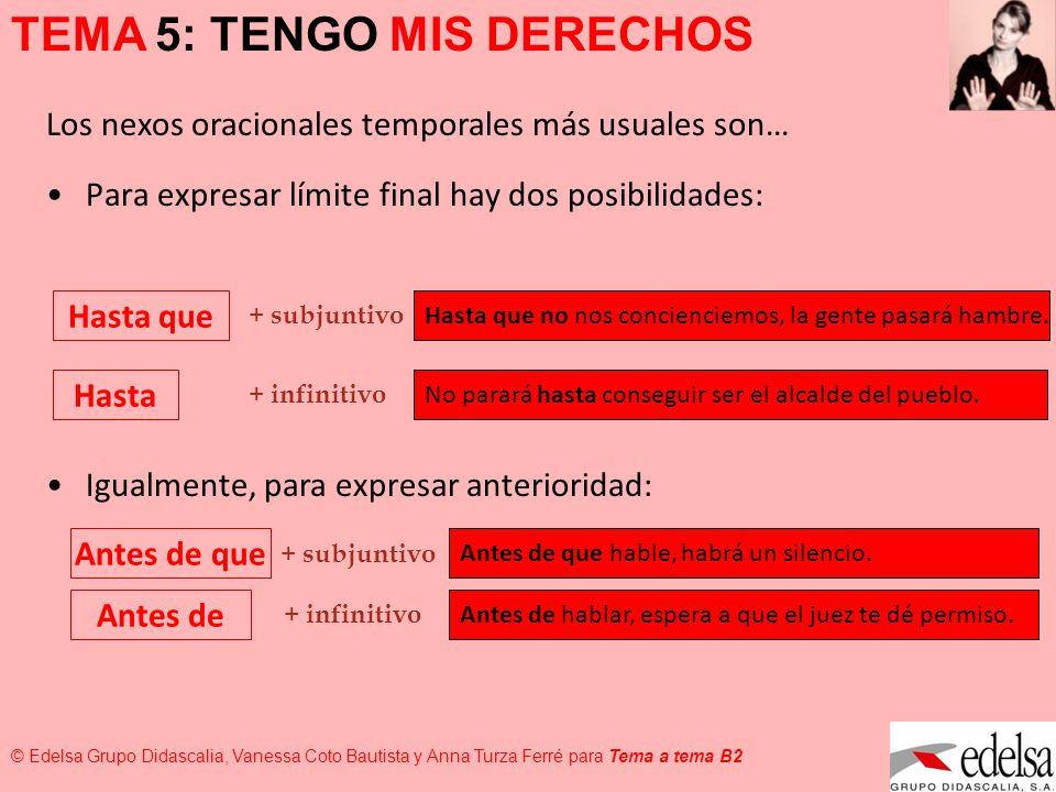 TEMA 5: TENGO MIS DERECHOS © Edelsa Grupo Didascalia, Vanessa Coto Bautista y Anna Turza Ferré para Tema a tema B2 Hasta que no nos concienciemos, la
