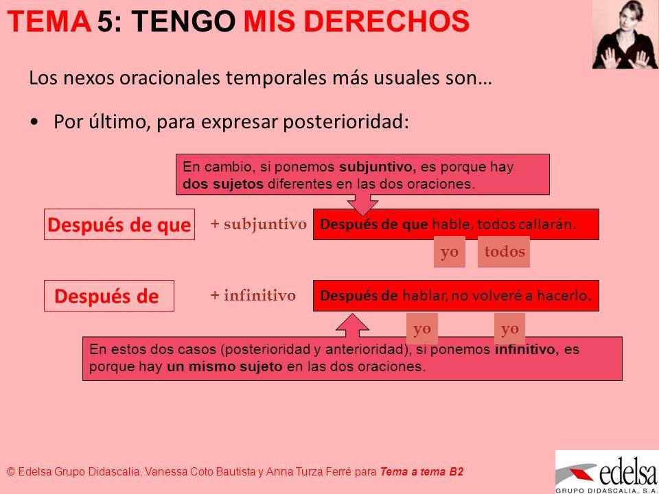 TEMA 5: TENGO MIS DERECHOS © Edelsa Grupo Didascalia, Vanessa Coto Bautista y Anna Turza Ferré para Tema a tema B2 Por último, para expresar posterior