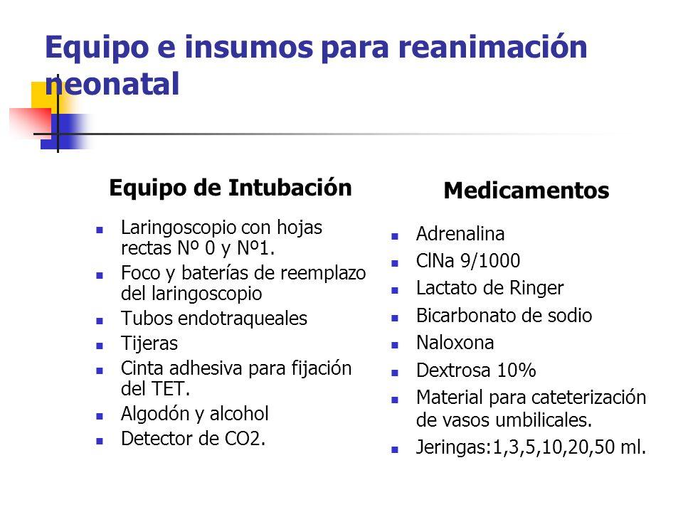 Equipo e insumos para reanimación neonatal Equipo de Intubación Laringoscopio con hojas rectas Nº 0 y Nº1. Foco y baterías de reemplazo del laringosco