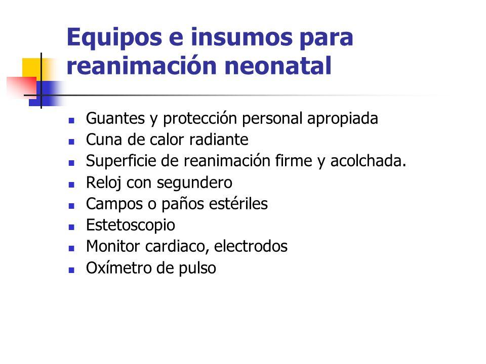 Equipos e insumos para reanimación neonatal Guantes y protección personal apropiada Cuna de calor radiante Superficie de reanimación firme y acolchada.