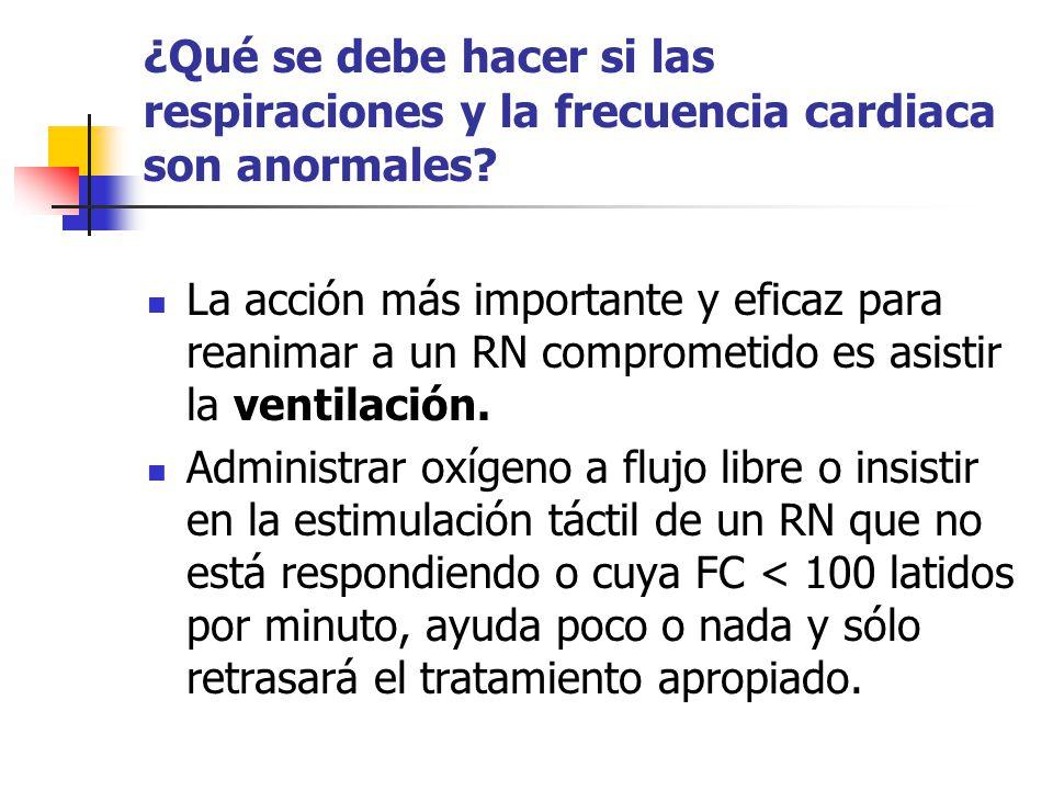 ¿Qué se debe hacer si las respiraciones y la frecuencia cardiaca son anormales? La acción más importante y eficaz para reanimar a un RN comprometido e