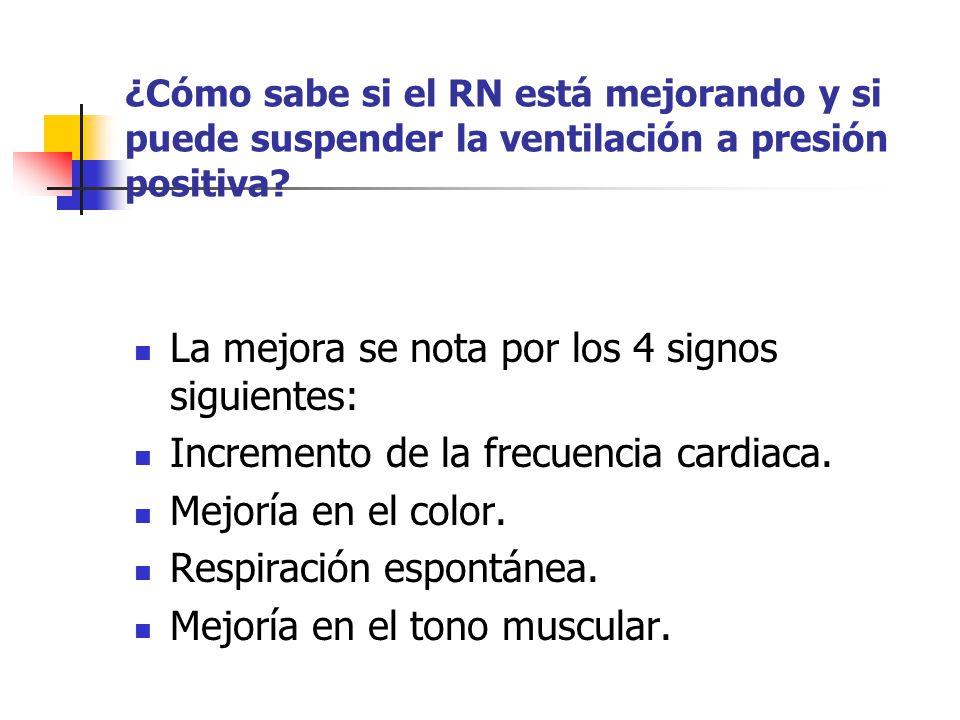 ¿Cómo sabe si el RN está mejorando y si puede suspender la ventilación a presión positiva? La mejora se nota por los 4 signos siguientes: Incremento d