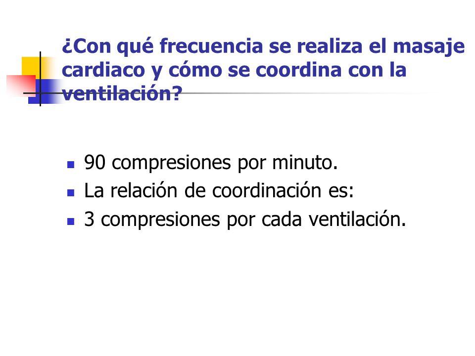 ¿Con qué frecuencia se realiza el masaje cardiaco y cómo se coordina con la ventilación? 90 compresiones por minuto. La relación de coordinación es: 3