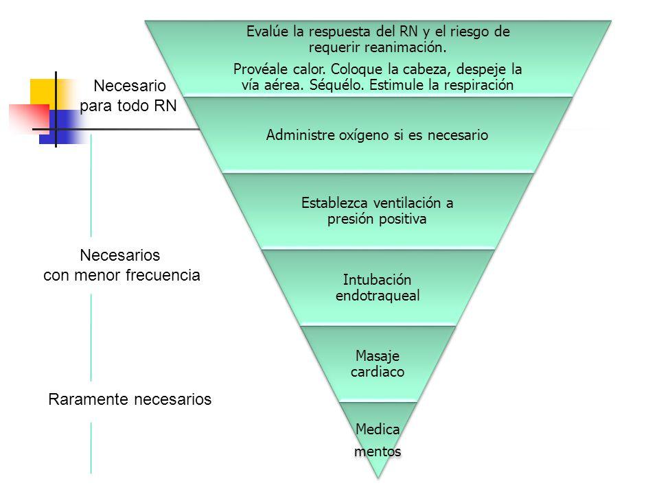 Evalúe la respuesta del RN y el riesgo de requerir reanimación.