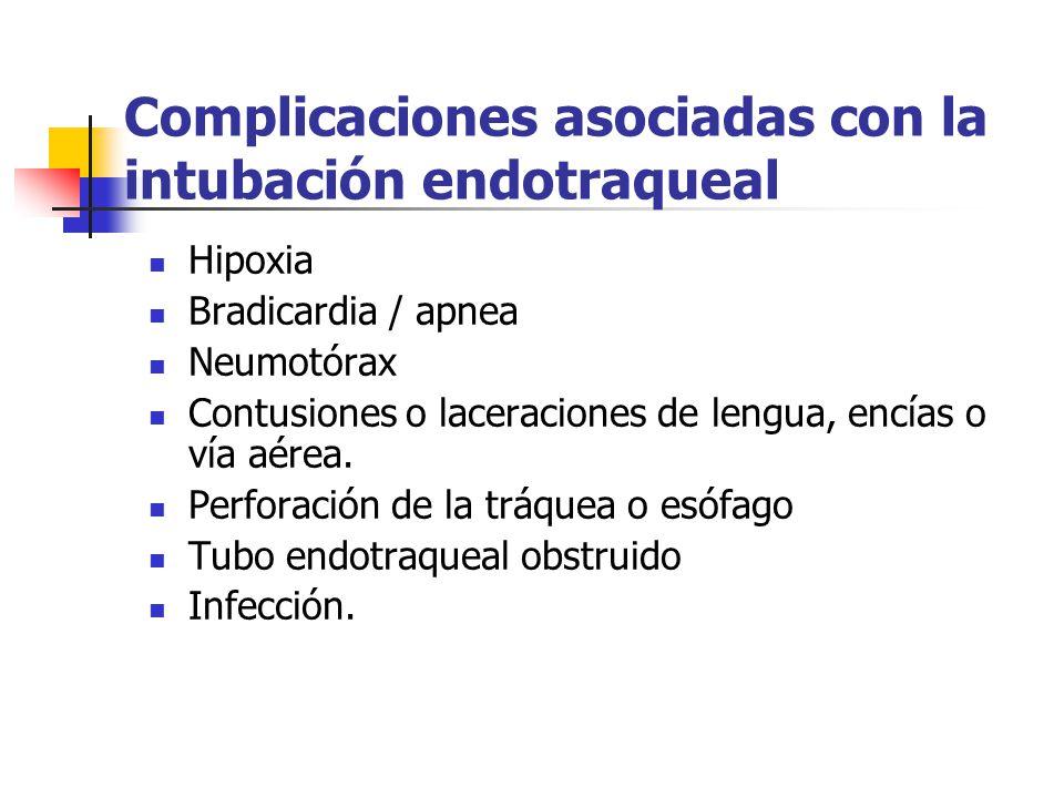 Complicaciones asociadas con la intubación endotraqueal Hipoxia Bradicardia / apnea Neumotórax Contusiones o laceraciones de lengua, encías o vía aérea.