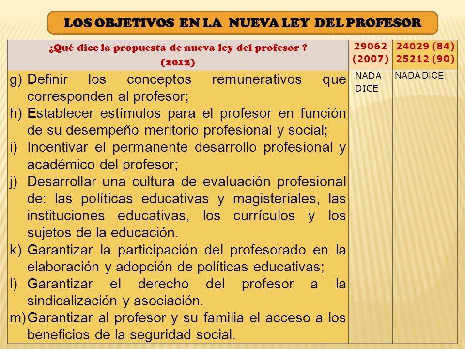 ¿Qué dice la propuesta de nueva ley del profesor .