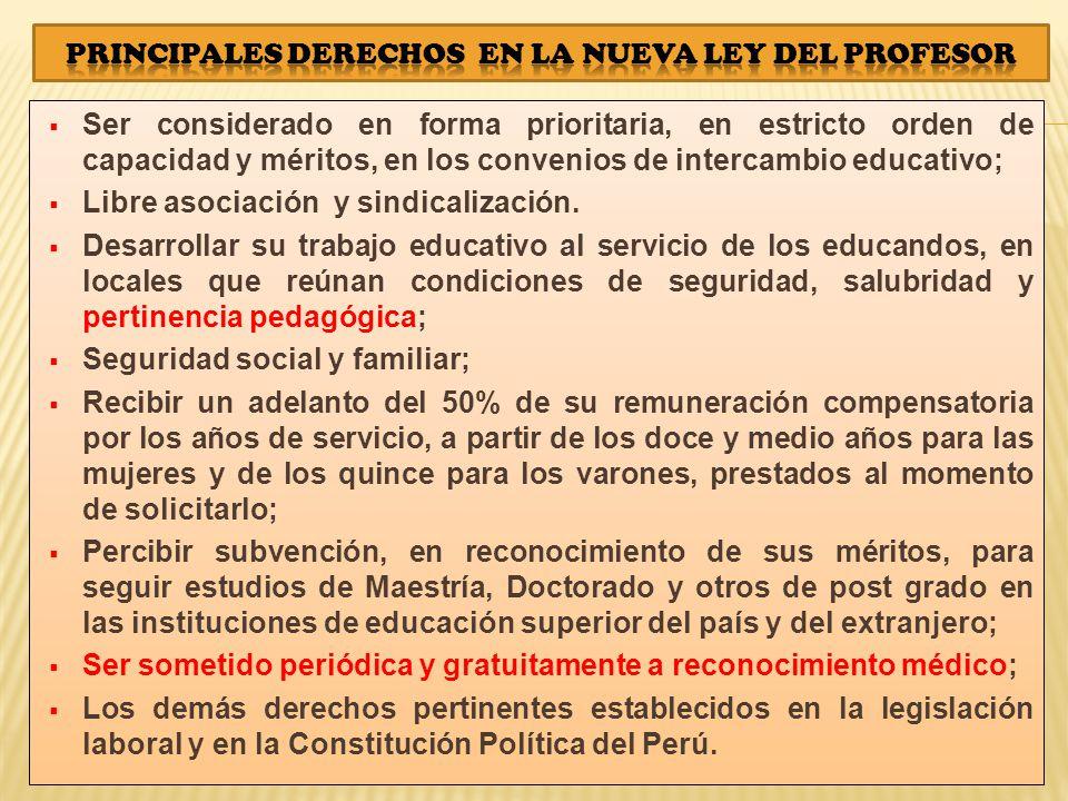 Ser considerado en forma prioritaria, en estricto orden de capacidad y méritos, en los convenios de intercambio educativo; Libre asociación y sindicalización.