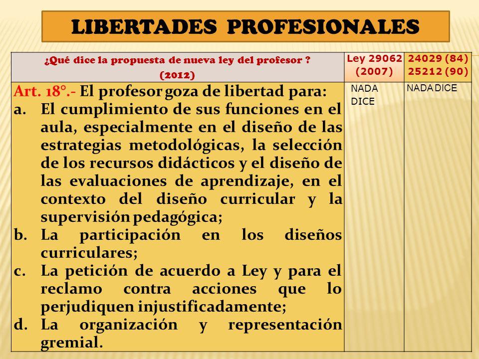 LIBERTADES PROFESIONALES ¿Qué dice la propuesta de nueva ley del profesor .