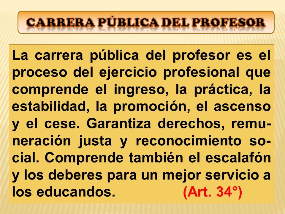 La carrera pública del profesor es el proceso del ejercicio profesional que comprende el ingreso, la práctica, la estabilidad, la promoción, el ascenso y el cese.