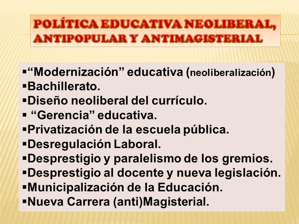 Modernización educativa ( neoliberalización ) Bachillerato.