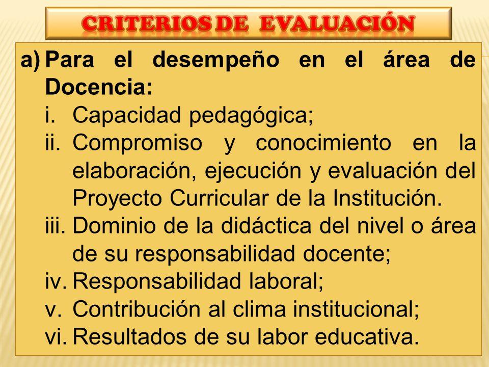 a)Para el desempeño en el área de Docencia: i.Capacidad pedagógica; ii.Compromiso y conocimiento en la elaboración, ejecución y evaluación del Proyecto Curricular de la Institución.