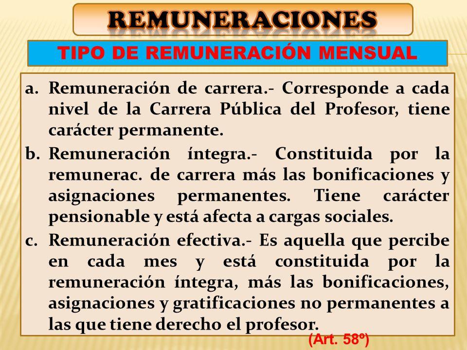 a.Remuneración de carrera.- Corresponde a cada nivel de la Carrera Pública del Profesor, tiene carácter permanente.