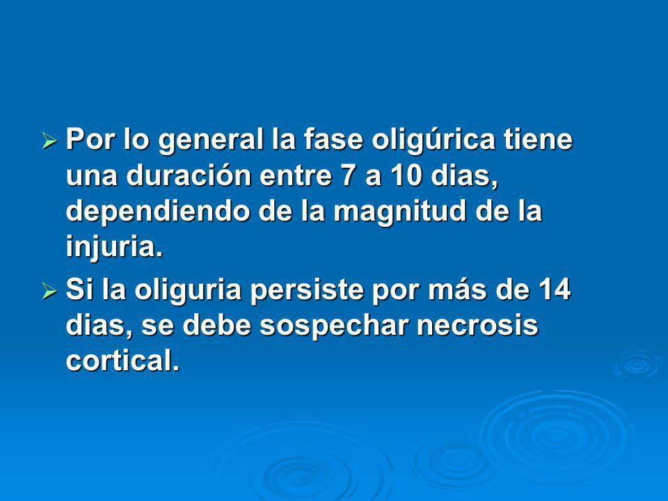 Por lo general la fase oligúrica tiene una duración entre 7 a 10 dias, dependiendo de la magnitud de la injuria. Por lo general la fase oligúrica tien
