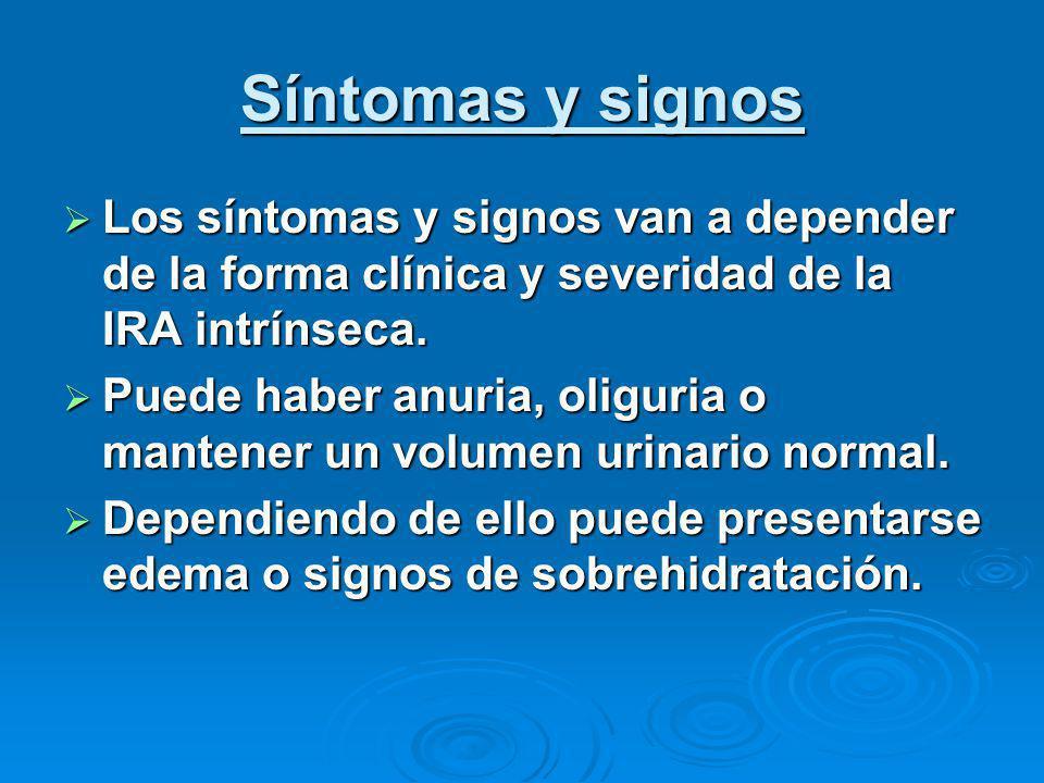 Síntomas y signos Los síntomas y signos van a depender de la forma clínica y severidad de la IRA intrínseca.