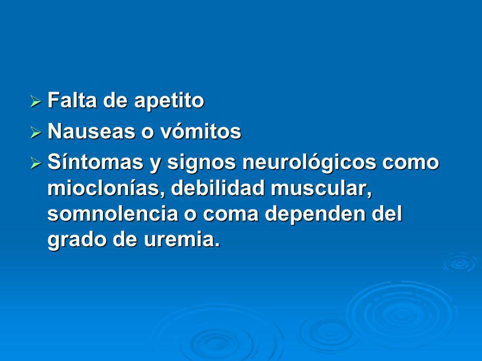 Falta de apetito Falta de apetito Nauseas o vómitos Nauseas o vómitos Síntomas y signos neurológicos como mioclonías, debilidad muscular, somnolencia o coma dependen del grado de uremia.