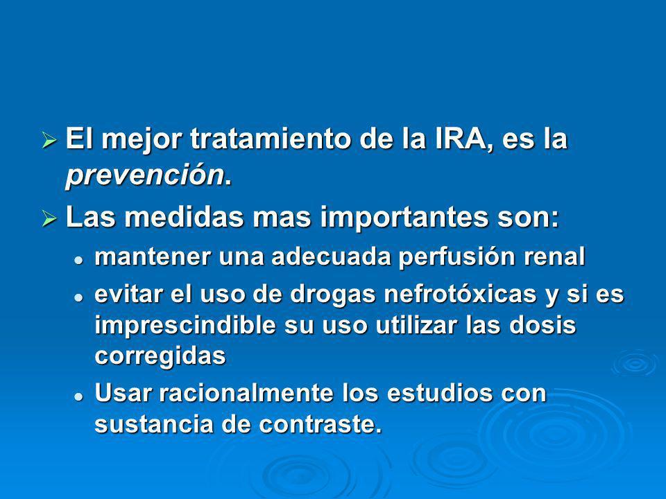El mejor tratamiento de la IRA, es la prevención. El mejor tratamiento de la IRA, es la prevención. Las medidas mas importantes son: Las medidas mas i