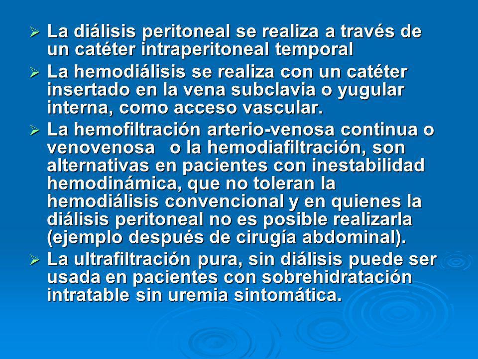 La diálisis peritoneal se realiza a través de un catéter intraperitoneal temporal La diálisis peritoneal se realiza a través de un catéter intraperito