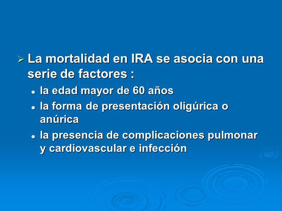 La mortalidad en IRA se asocia con una serie de factores : La mortalidad en IRA se asocia con una serie de factores : la edad mayor de 60 años la edad mayor de 60 años la forma de presentación oligúrica o anúrica la forma de presentación oligúrica o anúrica la presencia de complicaciones pulmonar y cardiovascular e infección la presencia de complicaciones pulmonar y cardiovascular e infección