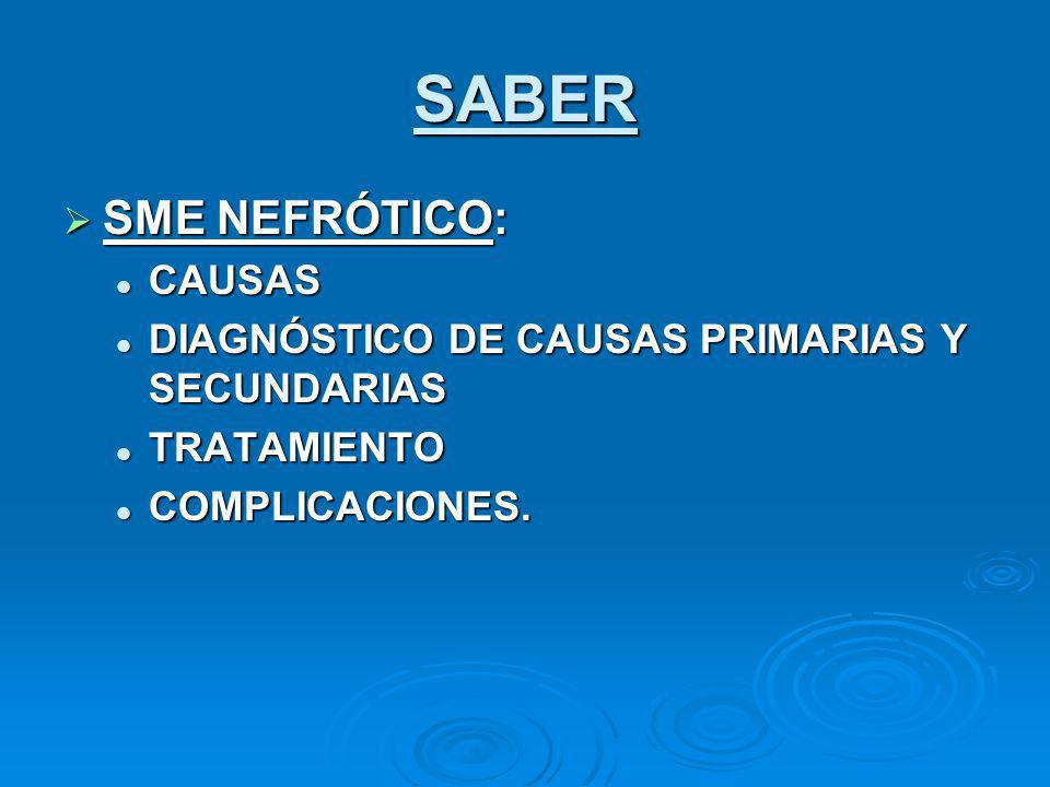 SABER SME NEFRÓTICO: SME NEFRÓTICO: CAUSAS CAUSAS DIAGNÓSTICO DE CAUSAS PRIMARIAS Y SECUNDARIAS DIAGNÓSTICO DE CAUSAS PRIMARIAS Y SECUNDARIAS TRATAMIE