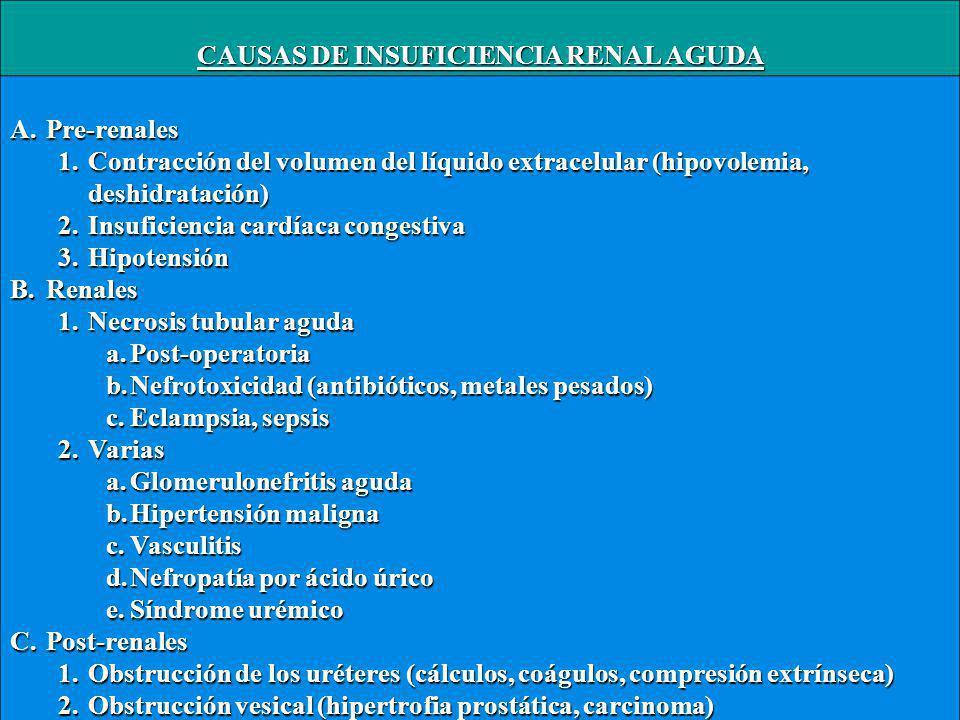 CAUSAS DE INSUFICIENCIA RENAL AGUDA A.Pre-renales 1.Contracción del volumen del líquido extracelular (hipovolemia, deshidratación) 2.Insuficiencia cardíaca congestiva 3.Hipotensión B.Renales 1.Necrosis tubular aguda a.Post-operatoria b.Nefrotoxicidad (antibióticos, metales pesados) c.Eclampsia, sepsis 2.Varias a.Glomerulonefritis aguda b.Hipertensión maligna c.Vasculitis d.Nefropatía por ácido úrico e.Síndrome urémico C.Post-renales 1.Obstrucción de los uréteres (cálculos, coágulos, compresión extrínseca) 2.Obstrucción vesical (hipertrofia prostática, carcinoma)