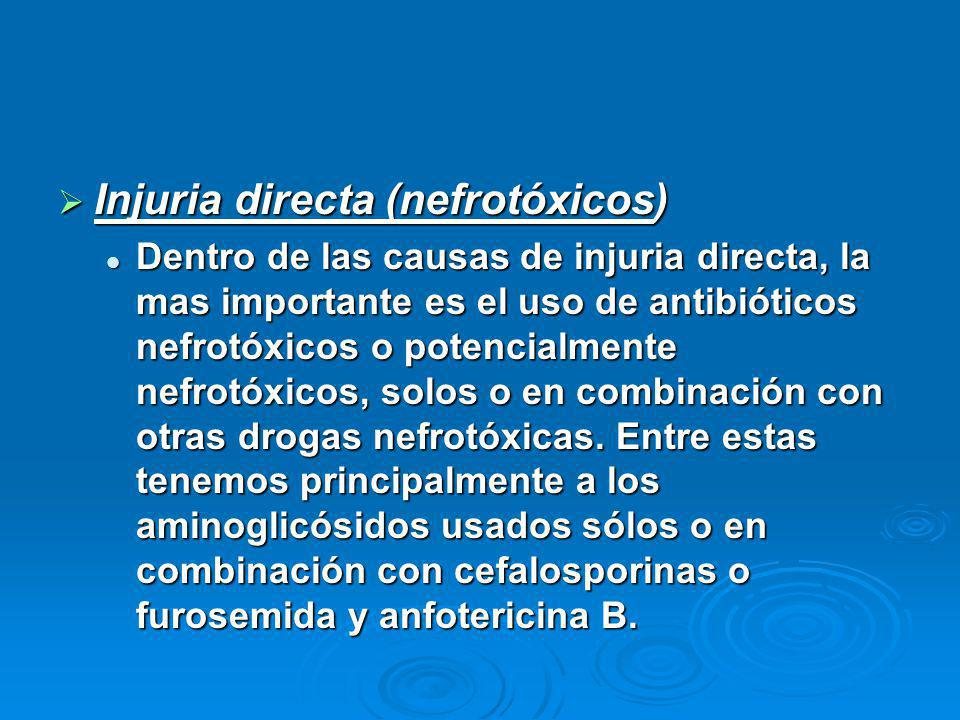 Injuria directa (nefrotóxicos) Injuria directa (nefrotóxicos) Dentro de las causas de injuria directa, la mas importante es el uso de antibióticos nefrotóxicos o potencialmente nefrotóxicos, solos o en combinación con otras drogas nefrotóxicas.