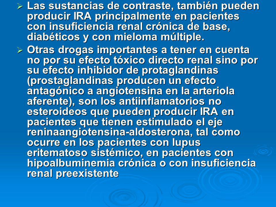 Las sustancias de contraste, también pueden producir IRA principalmente en pacientes con insuficiencia renal crónica de base, diabéticos y con mieloma