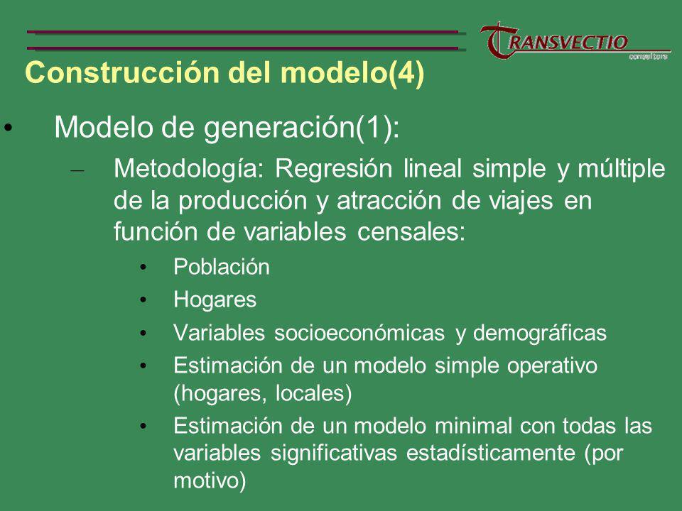 Construcción del modelo(4) Modelo de generación(1): – Metodología: Regresión lineal simple y múltiple de la producción y atracción de viajes en función de variables censales: Población Hogares Variables socioeconómicas y demográficas Estimación de un modelo simple operativo (hogares, locales) Estimación de un modelo minimal con todas las variables significativas estadísticamente (por motivo)
