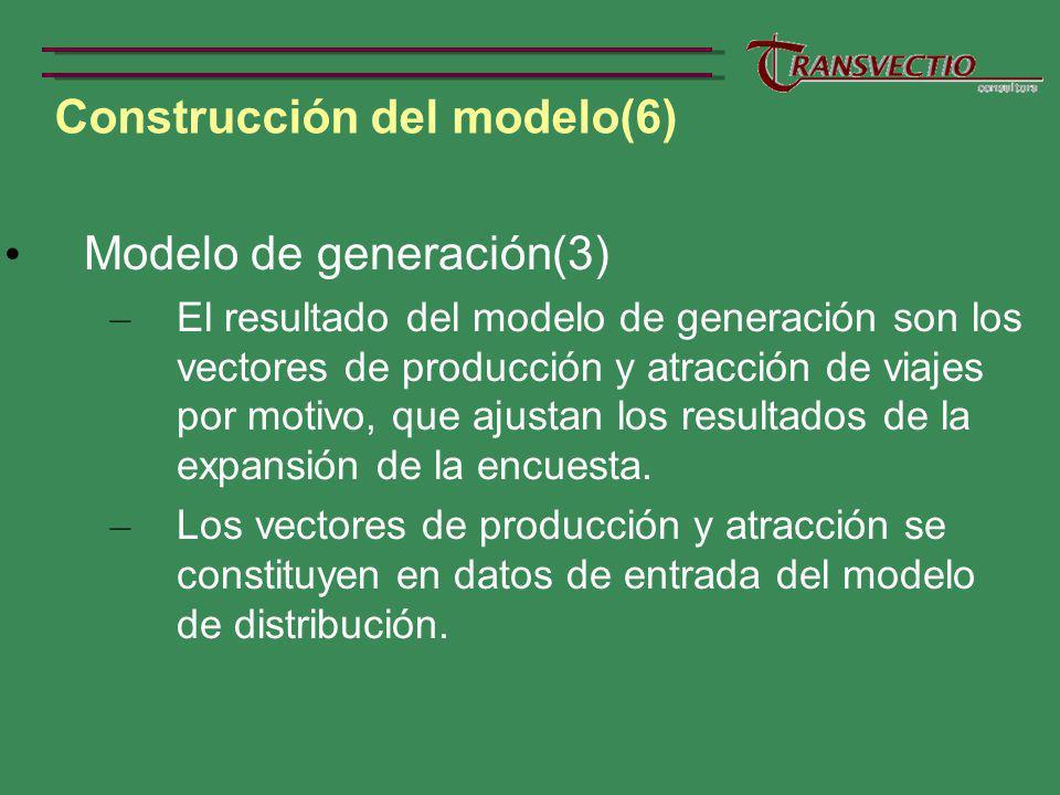 Construcción del modelo(6) Modelo de generación(3) – El resultado del modelo de generación son los vectores de producción y atracción de viajes por motivo, que ajustan los resultados de la expansión de la encuesta.