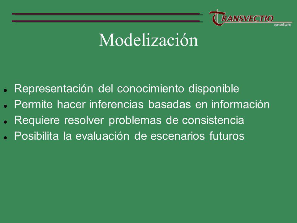 Modelización Representación del conocimiento disponible Permite hacer inferencias basadas en información Requiere resolver problemas de consistencia Posibilita la evaluación de escenarios futuros