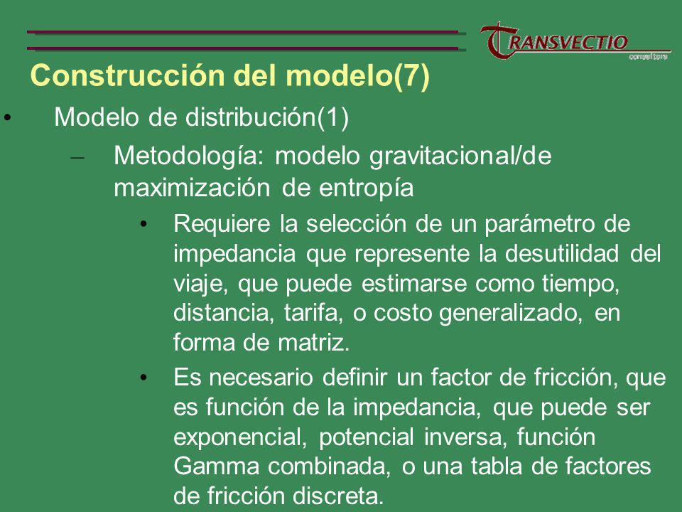 Construcción del modelo(7) Modelo de distribución(1) – Metodología: modelo gravitacional/de maximización de entropía Requiere la selección de un parámetro de impedancia que represente la desutilidad del viaje, que puede estimarse como tiempo, distancia, tarifa, o costo generalizado, en forma de matriz.