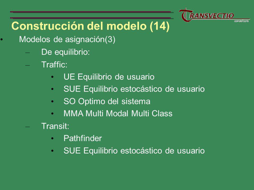 Construcción del modelo (14) Modelos de asignación(3) – De equilibrio: – Traffic: UE Equilibrio de usuario SUE Equilibrio estocástico de usuario SO Optimo del sistema MMA Multi Modal Multi Class – Transit: Pathfinder SUE Equilibrio estocástico de usuario