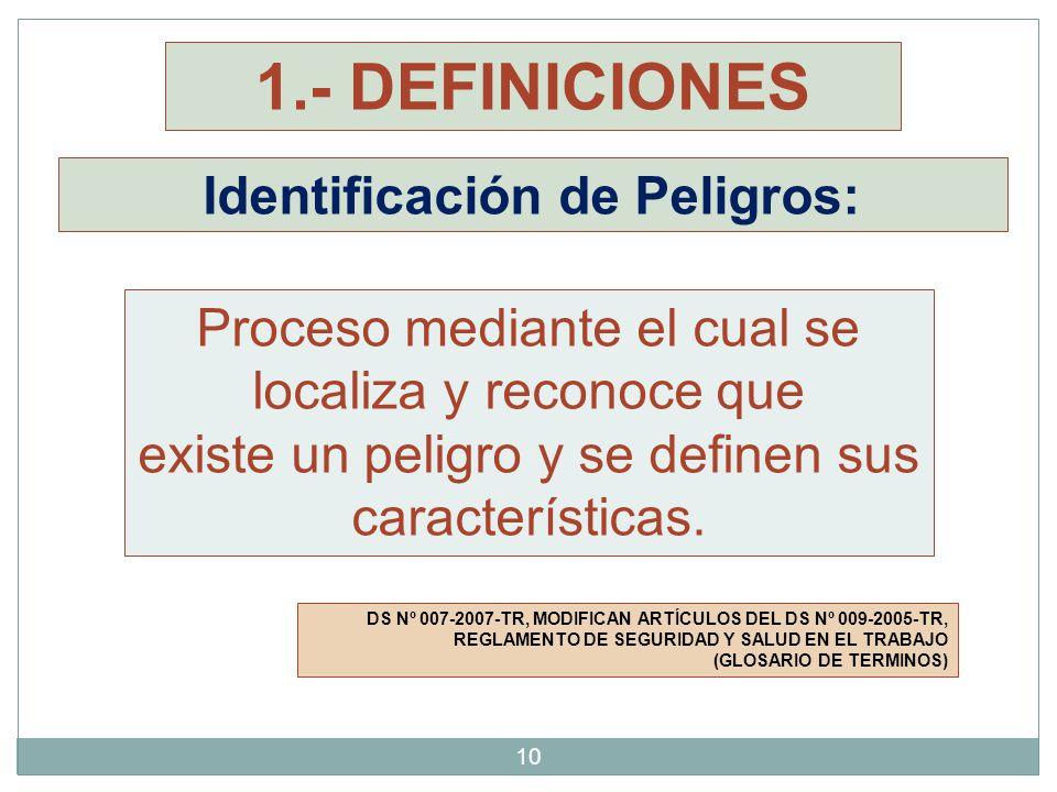 Identificación de Peligros: DS Nº 007-2007-TR, MODIFICAN ARTÍCULOS DEL DS Nº 009-2005-TR, REGLAMENTO DE SEGURIDAD Y SALUD EN EL TRABAJO (GLOSARIO DE T