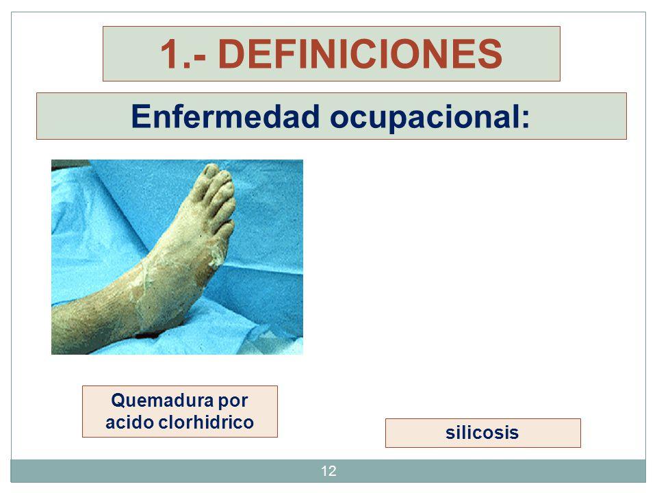 12 Enfermedad ocupacional: silicosis Quemadura por acido clorhidrico 1.- DEFINICIONES