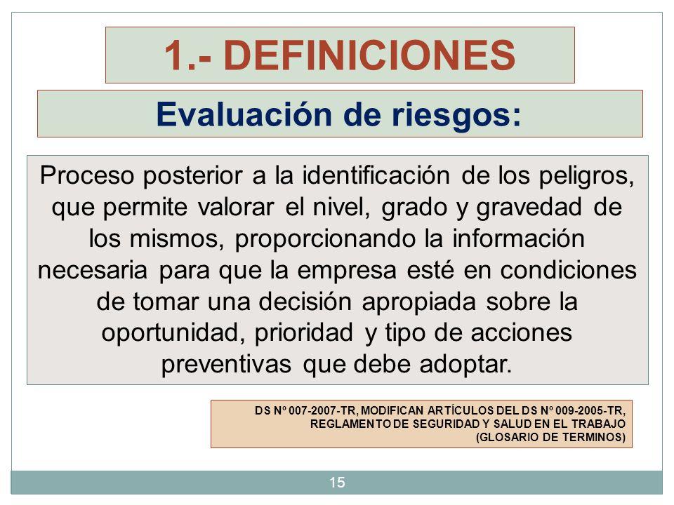 Evaluación de riesgos: DS Nº 007-2007-TR, MODIFICAN ARTÍCULOS DEL DS Nº 009-2005-TR, REGLAMENTO DE SEGURIDAD Y SALUD EN EL TRABAJO (GLOSARIO DE TERMIN