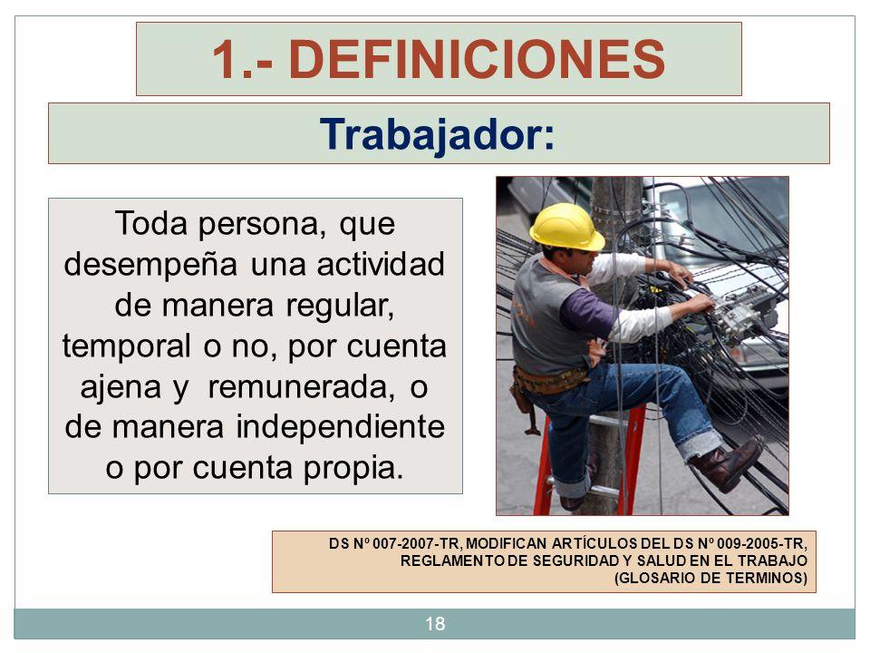 Trabajador: DS Nº 007-2007-TR, MODIFICAN ARTÍCULOS DEL DS Nº 009-2005-TR, REGLAMENTO DE SEGURIDAD Y SALUD EN EL TRABAJO (GLOSARIO DE TERMINOS) Toda pe