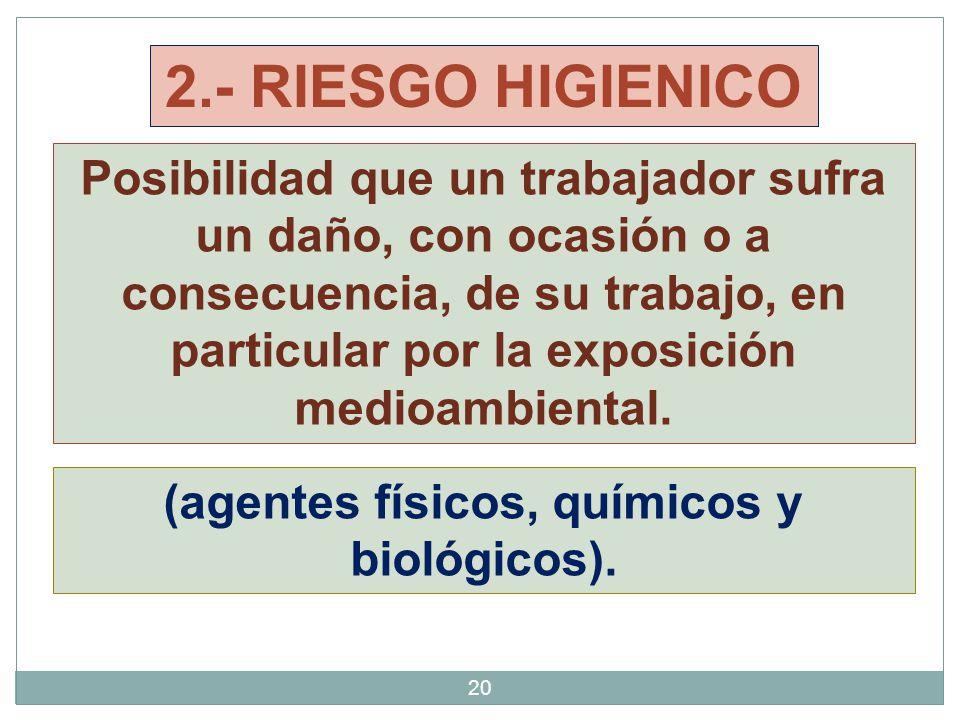 2.- RIESGO HIGIENICO Posibilidad que un trabajador sufra un daño, con ocasión o a consecuencia, de su trabajo, en particular por la exposición medioambiental.