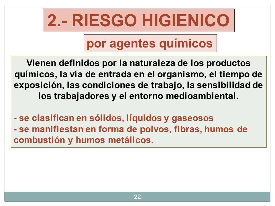 22 Vienen definidos por la naturaleza de los productos químicos, la vía de entrada en el organismo, el tiempo de exposición, las condiciones de trabaj