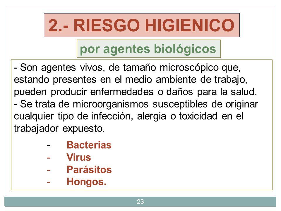 23 - Son agentes vivos, de tamaño microscópico que, estando presentes en el medio ambiente de trabajo, pueden producir enfermedades o daños para la salud.