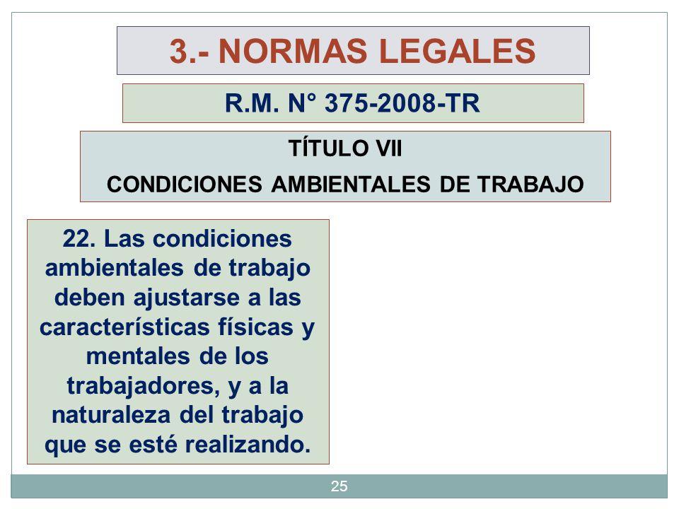 TÍTULO VII CONDICIONES AMBIENTALES DE TRABAJO 22. Las condiciones ambientales de trabajo deben ajustarse a las características físicas y mentales de l