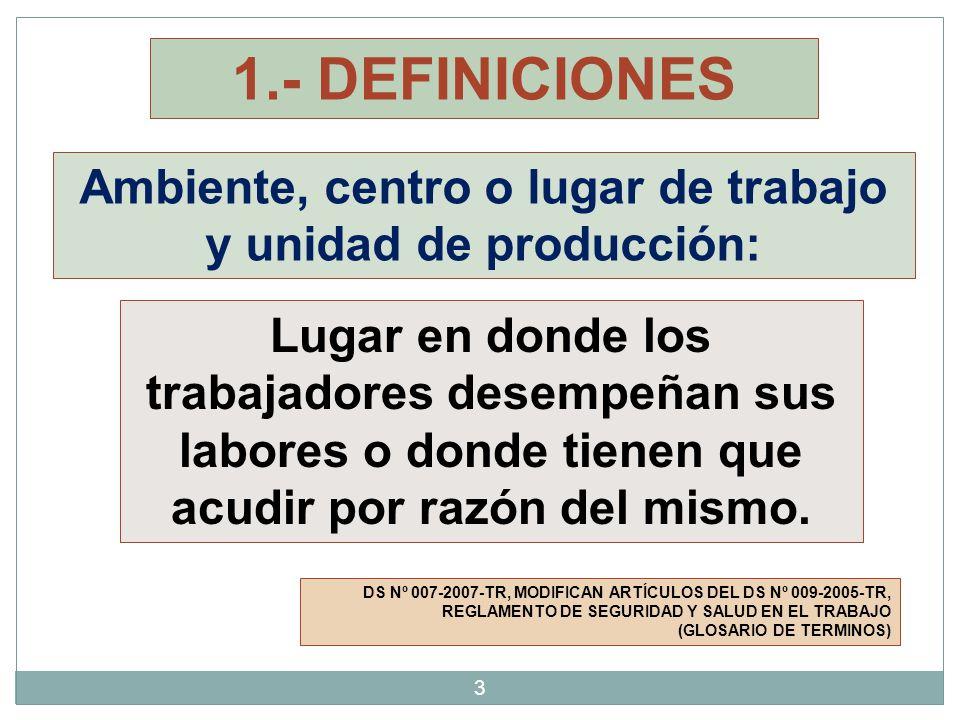 Ambiente, centro o lugar de trabajo y unidad de producción: 1.- DEFINICIONES