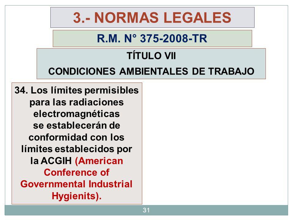 31 3.- NORMAS LEGALES R.M. N° 375-2008-TR TÍTULO VII CONDICIONES AMBIENTALES DE TRABAJO 34. Los límites permisibles para las radiaciones electromagnét