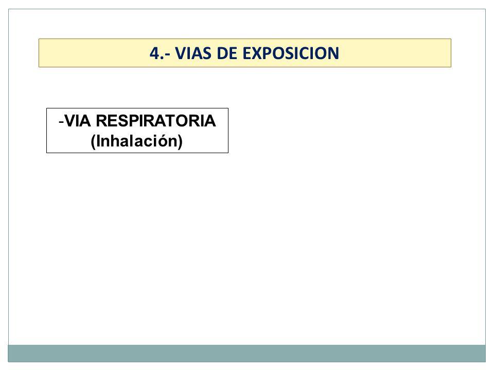 -VIA RESPIRATORIA (Inhalación) 4.- VIAS DE EXPOSICION