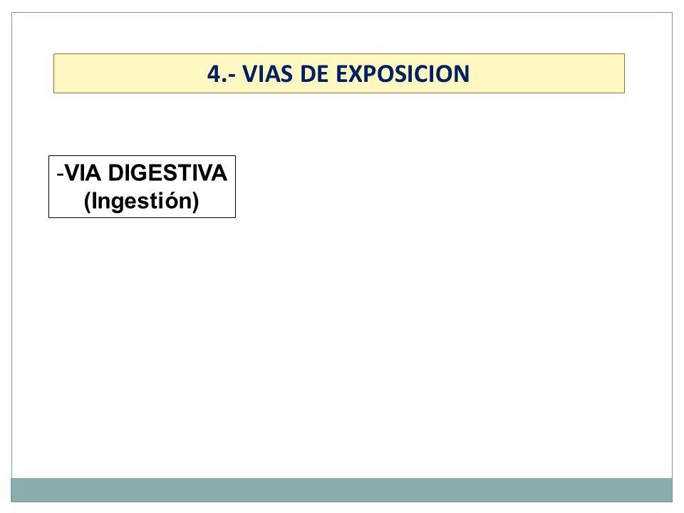 -VIA DIGESTIVA (Ingestión) 4.- VIAS DE EXPOSICION