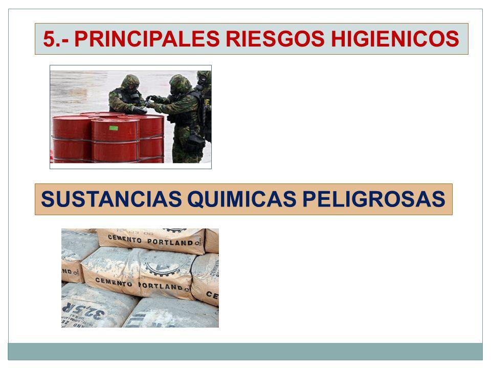 SUSTANCIAS QUIMICAS PELIGROSAS 5.- PRINCIPALES RIESGOS HIGIENICOS
