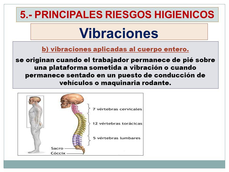 b) vibraciones aplicadas al cuerpo entero. se originan cuando el trabajador permanece de pié sobre una plataforma sometida a vibración o cuando perman